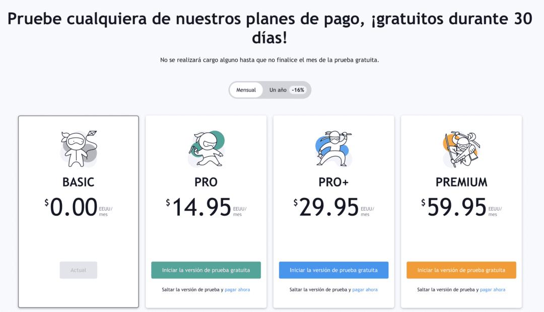 Planes de pago TradingView