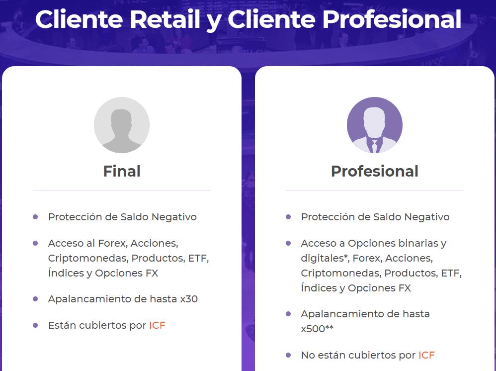 Cliente profesional Iq Option