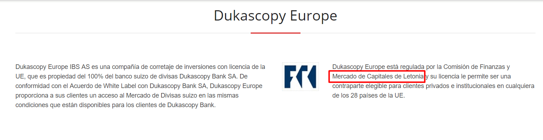 Dukascopy regulación