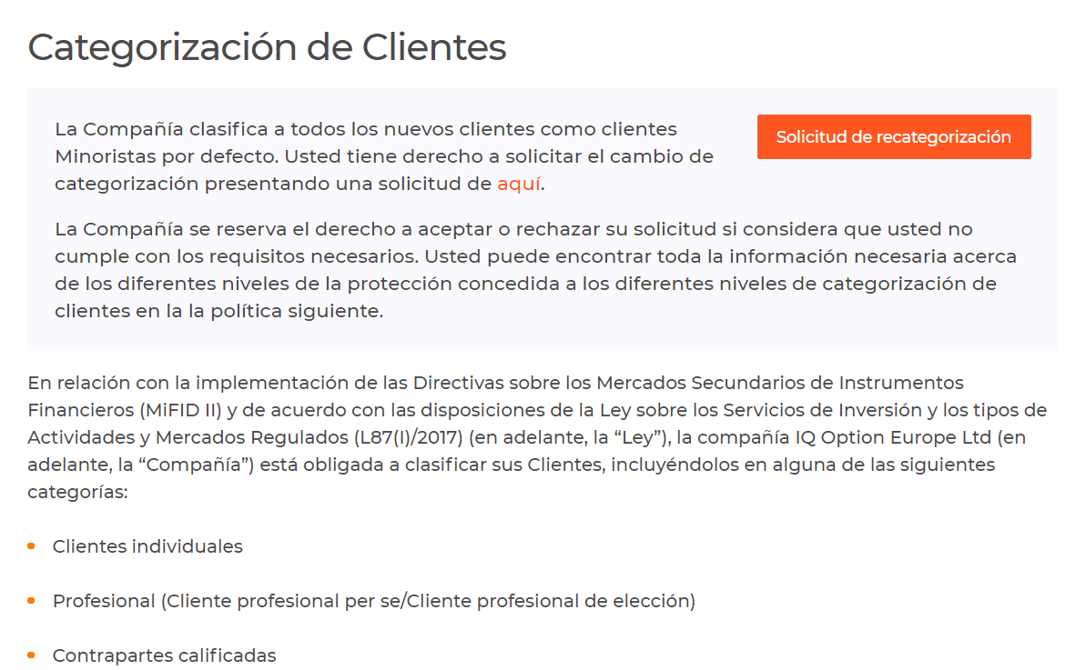 Cliente profesional IQ Option
