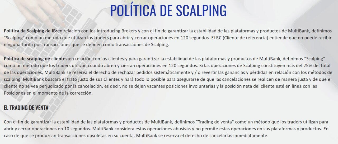 Scalping prohibido en Multibank