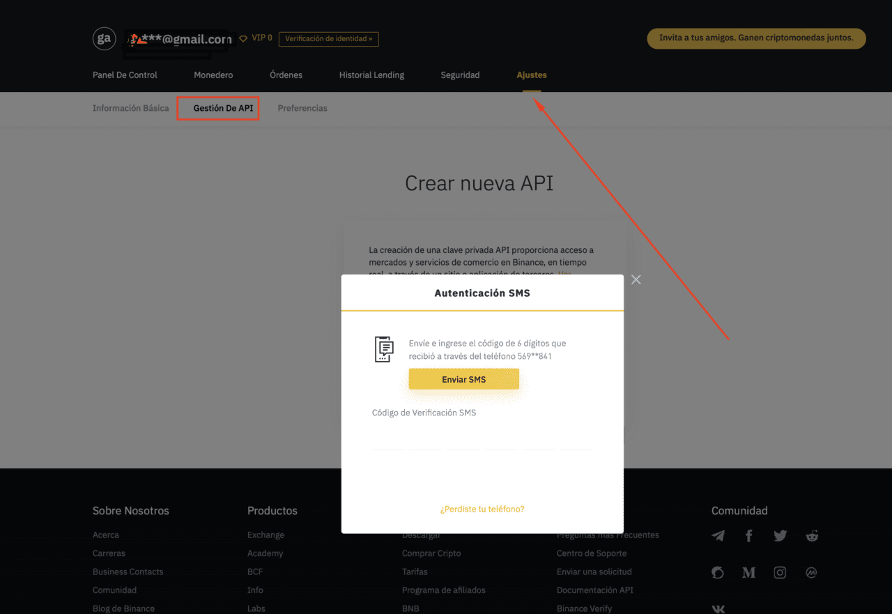 creando Api en Binance