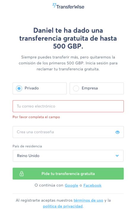 Registro TransferWise